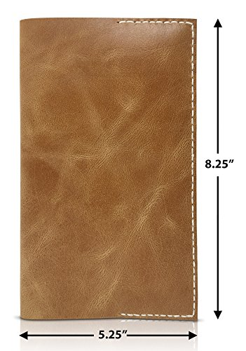 Leather Notepad Lined Refillable Moleskine Cahier Large Professional Hand Sewn Writing Journal – Field Notes to Do List Job Task Organizer - Daily Note Taking Pad to Write in (Tan) by MoLi Products