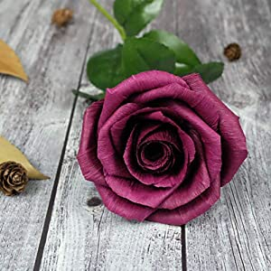 Burgundy Paper Rose Anniversary Paper Gifts for Her Handmade Realistic Crepe Paper Flowers for Wedding, Birthday, Christmas, Valentine,Mother's Day, Dark Red Wine Color, 01 Single Long Stem 12