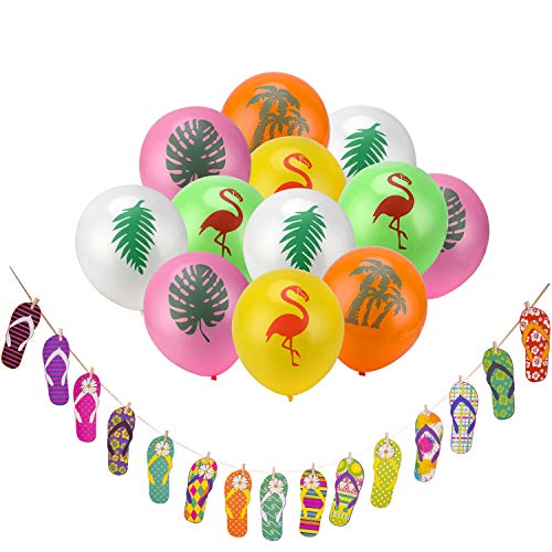 Party Banner Balloons for Hawaiian Decorations,Konsait Tropical Luau Party Decor for Home Wall Hibiscus Flowers Slipper Hanging Garland for Tropical Luau themed Birthday Party Supplies Favors -