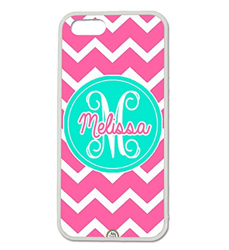 iPhone 5C Case, ArtsyCase Pink Turquoise Chevron Monogram Personalized Name Phone Case - iPhone 5C (White) (Iphone 5c White Chevron Turquoise)