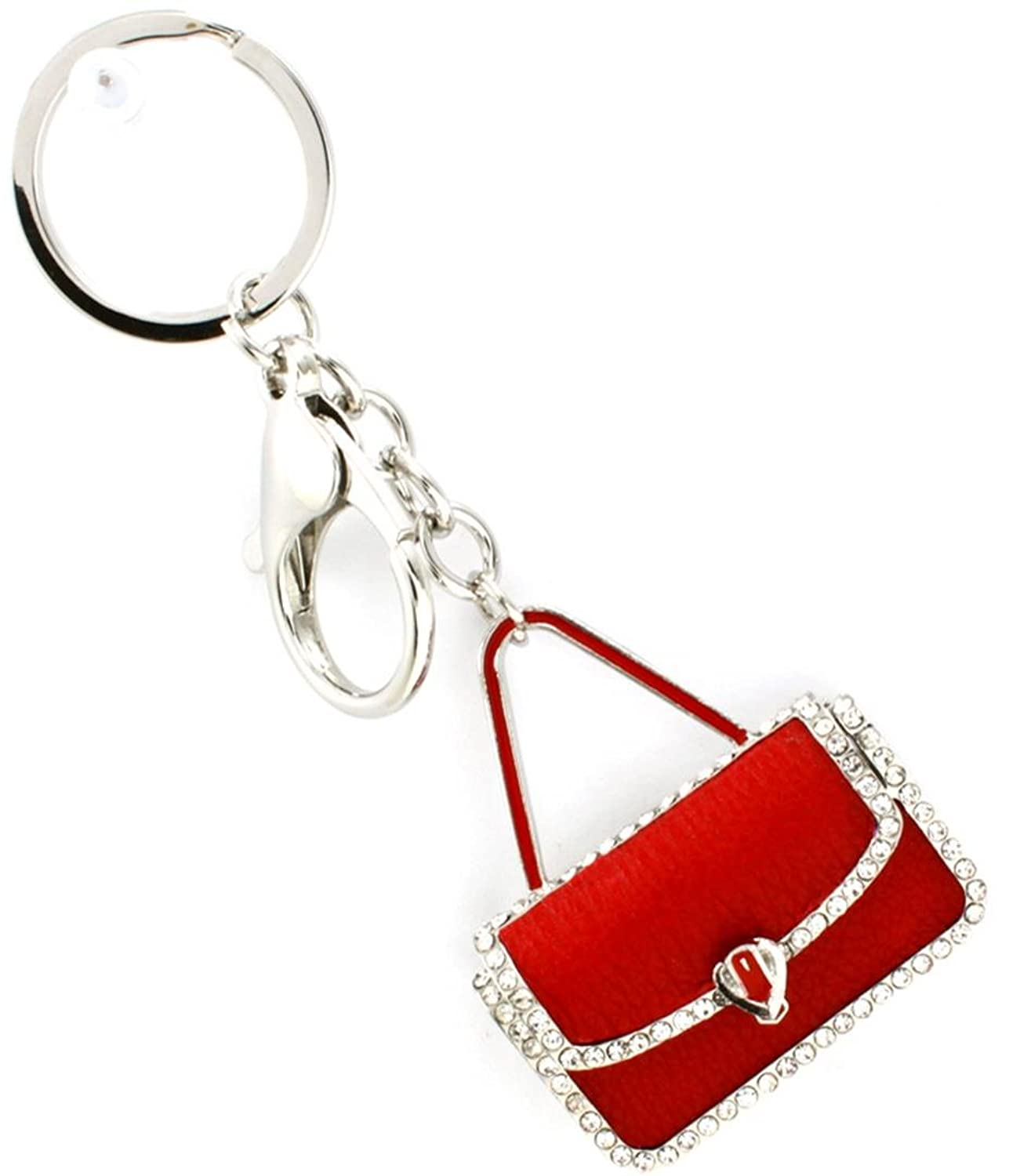 Red Handbag Key Chain D10 Clear Red Crystal Clip