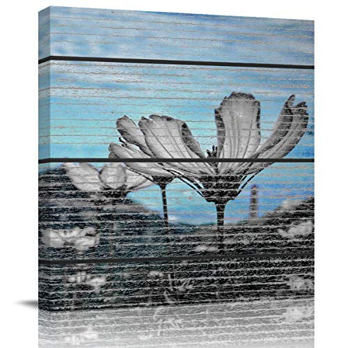 Canvas Wall Art - Blue Sky and White Clouds,White Flower Close-up on The Hill - Modern Wall Decor Gallery Canvas Wraps Giclee Print Stretched and Framed Ready to Hang 20