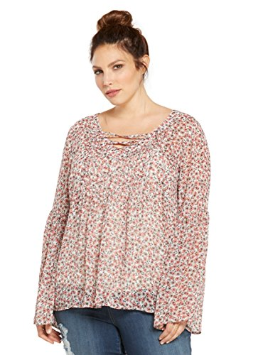 Floral-Print-Chiffon-Lace-Up-Top
