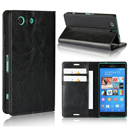 8c817789ff1 Sony Xperia Z3 Compact Case,iCoverCase Genuine Leather Wallet Case [Slim  Fit] Folio