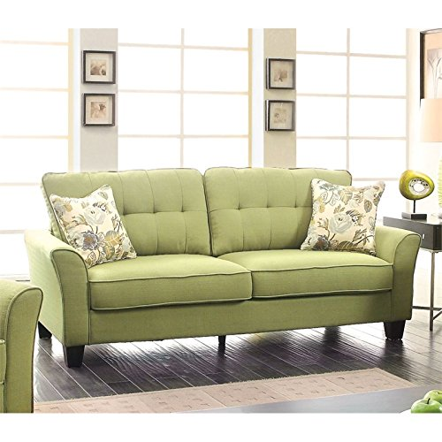 Furniture of America Pryor Tufted Linen Sofa in Green