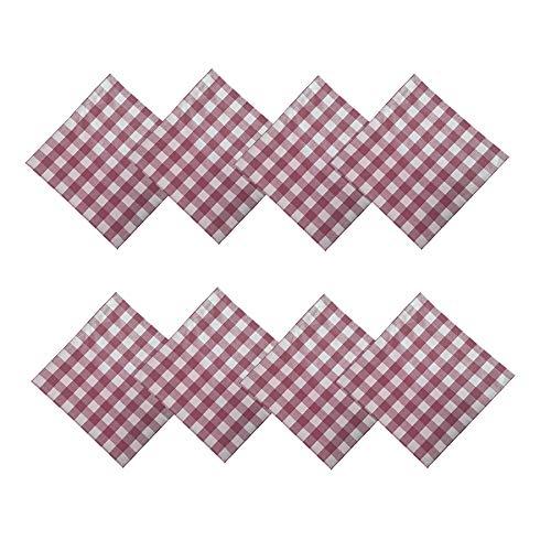 Burgundy Gingham - Newbridge Buffalo Check Rustic Indoor/Outdoor Cotton Napkins Cottage Style Gingham Check Pattern - Set of 8 Napkins, Burgundy