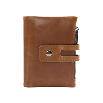 a4f3c17c5a1a Image Unavailable. Image not available for. Color: Men Retro Short Wallet  Double Zipper Snap Closure Coin Purse Leather Card ...