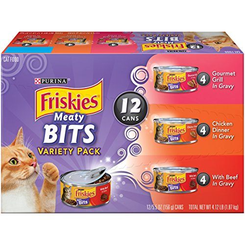 Purina Friskies Meaty Bits Adult Wet Cat Food Variety Pack, (2 Packs of 12) 5.5 oz. Cans