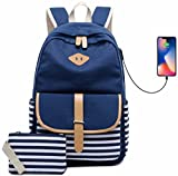 Teen Girls Canvas Backpack Casual School Bookbag Womens Daypack College Laptop Backpack with USB Charging Port Blue