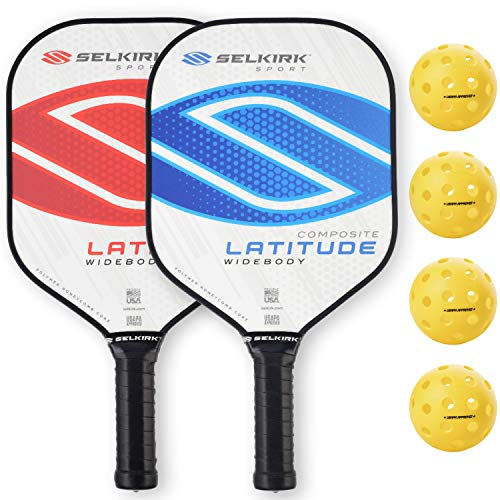 Selkirk Latitude Widebody Composite Pickleball Paddle - USAPA Approved - PowerCore Polymer Core - PolyFlex Composite Surface - EdgeSentry Protection - ThinGrip Handle (Blue/Red Set)