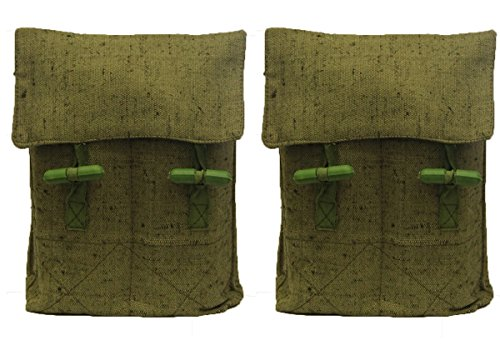 Ultimate Arms Gear Pack of 2 Surplus Romanian Military AK47 AK-47 Green Canvas Mag Magazine Pouch Holder with 4 Cell Divider Design to Hold Up To 4 30 Round 7.62x39 Mags