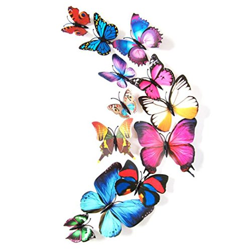 Gotd 12PCs 3D DIY Wall Sticker Butterfly Fridge Magnet Home Decor Room Decorations, Colorful