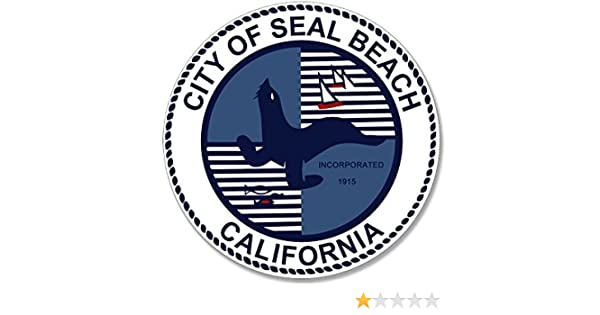 Vinyl ca California Logo oc Insignia Round City of Seal Beach Sticker