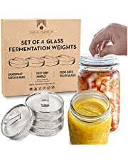 Glass Fermentation Weights for Fermenting with Easy Lift Handles - Boxed Set of 4
