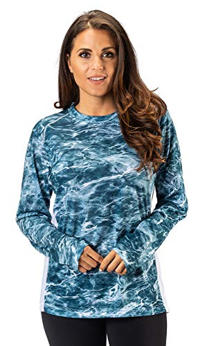 TrailCrest Fishing Mossy Oak Elements Women's Pullover Long Sleeve Fishing T-Shirt 4 Way Stretch +50 UPF Sun Protection (Clothing Magellans)