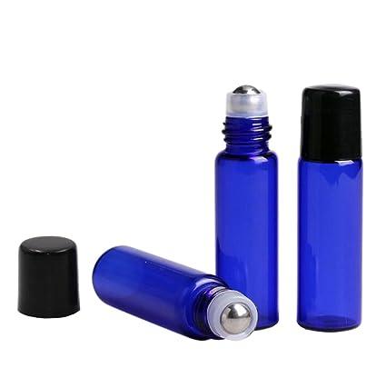 Azul cobalto cristal Roller Botellas 10 pcs rollo vacío rellenable perfume de aceite esencial de botellas