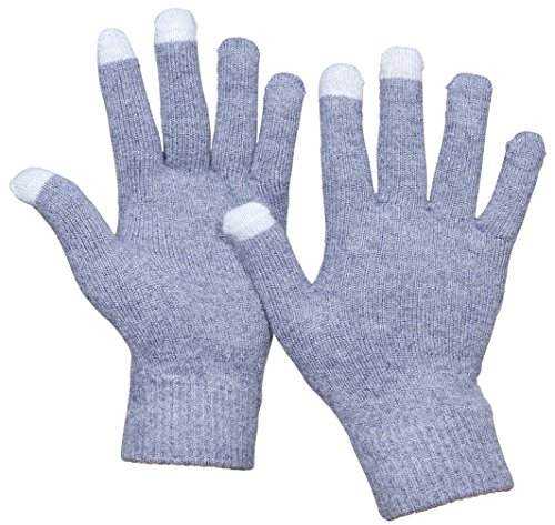 Ribbed Wool Gloves (Beurlike Womens Winter Cashmere Knit Gloves Mens Touch Screen Warm Fleece Gloves (Gray))