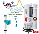 FlushSaver PUSH BUTTON EURO-STYLE Dual-Flush Deluxe DIY Conversion Kit - FITS STANDARD 2'' DRAIN ONE PIECE TOILETS. Converts standard toilets into efficient dual-flush systems.