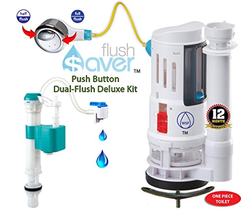 FlushSaver PUSH BUTTON EURO-STYLE Dual-Flush Deluxe DIY Conversion Kit - FITS STANDARD 2