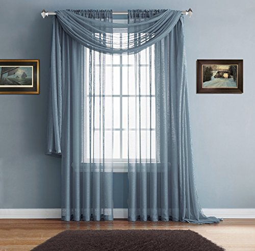 Warm Home Designs Pair of Premium Quality 54 x 84 Inch Sheer Slate Blue Faux-Linen Rod Pocket Curtains. Total Width of These Affordable Drape Panels is 108