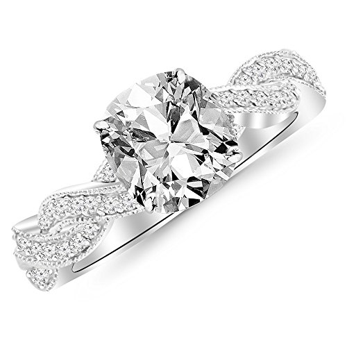 1.78 Ctw 14K White Gold GIA Certified Cushion Cut Vintage Eternity Love Twisting Split Shank Diamond Engagement Ring With Milgrain, 1.5 Ct G H VS1 VS2 Center