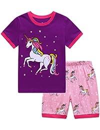 Little Girls' Short Pajamas Sets Toddler PJS Cotton Kids Sleepwears