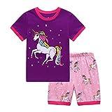 Little Girls' Short Pajamas Sets Toddler PJS Cotton Kids Sleepwears (Purple, 4T)