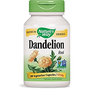 Nature's Way Dandelion Root; 525 mg Dandelion Root per serving; Non-GMO Project Verified; Gluten Free;Vegetarian;100 Vegetarian Capsules