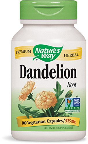 Dandelion Root Capsules (Nature's Way Dandelion Root; 525 mg Dandelion Root per serving; Non-GMO Project Verified; Gluten Free;Vegetarian;100 Vegetarian Capsules)