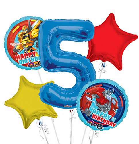 Transformers Happy Birthday Balloon Bouquet 5th Birthday 5 pcs - Party Supplies]()