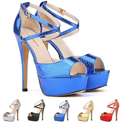b30e344060e ZriEy Women Sandals 14CM / 5.5 inches High-Heeled Peep Toe Platform ...