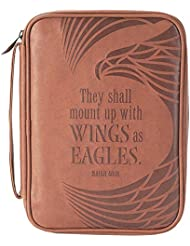 Eagles Wings Isaiah 40:31 Brown X-Large Faux Leather Mens Bible Cover Case
