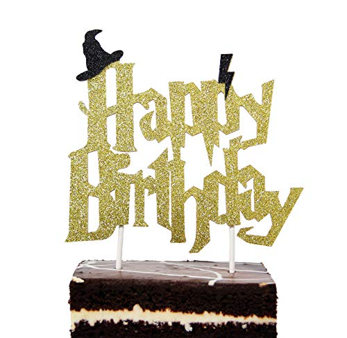 Harry Potter Inspired Birthday Cake Topper For All Ages Gold Glitter Cardstock Unique Harry Potter Themed ()