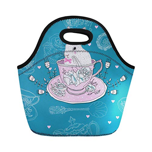 Lace Teaspoon - Semtomn Neoprene Lunch Tote Bag Pink Afternoon Tea Cups Teapot Teaspoons Rabbit Easter Bunny Reusable Cooler Bags Insulated Thermal Picnic Handbag for Travel,School,Outdoors, Work