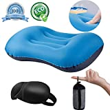 QEBABY Inflatable Camping Travel Pillow Air Blow up Portable Sleeping Pillows Neck Lumbar Support Travel Air Pillow for Outdoor Camp Soft Compressible