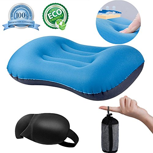 QEBABY Inflatable Camping Pillow Inflatable Travel Pillow Air Blow up Portable Sleeping Pillows Neck Lumbar Support Travel Air Pillow for Outdoor Camp Soft Compressible by QEBABY