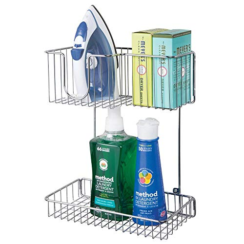 (mDesign Metal Wire Wall Mount Laundry Room Storage Organizer, 2 Levels - Large Basket Holds Iron, Lower Shelf Holds Laundry Detergent, Fabric Softener, Stain Remover - Chrome)