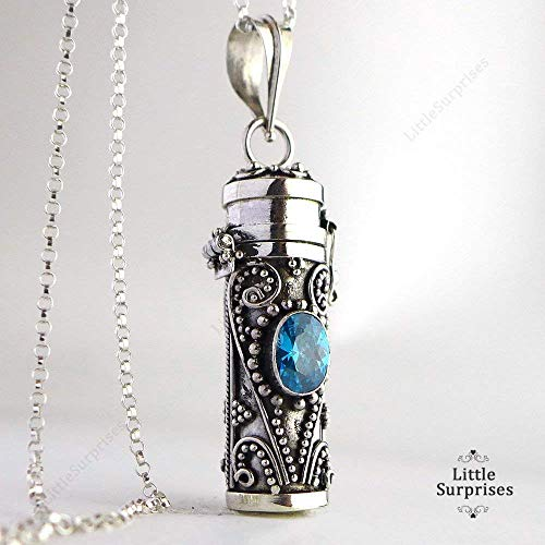 - 30mm Swiss Blue Topaz Tube Container Locket Sterling Silver Pendant 20