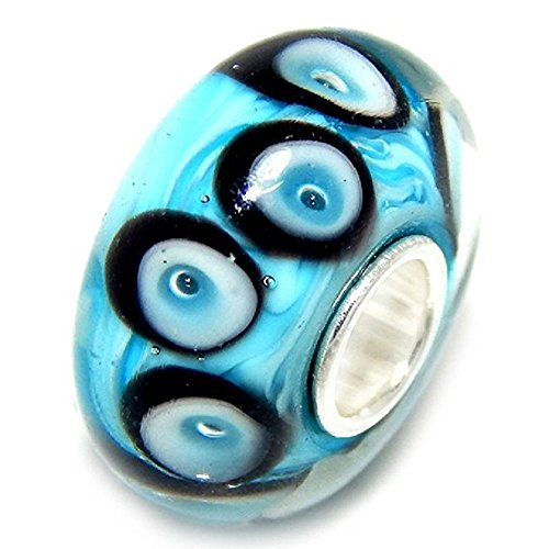 d Sterling Silver Blue Background with Black, White and Blue Calla Lily Petals Glass Charm Bead ()