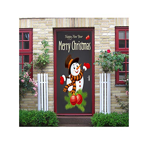 HHmei Christmas Snowman Door Cover Holiday Covers Decoration 30-Inch by 6.5-Feet Decorations Outdoor Tree Table Lights Blue Home Set Silver Wall Ornaments Party Streamers Multicolor