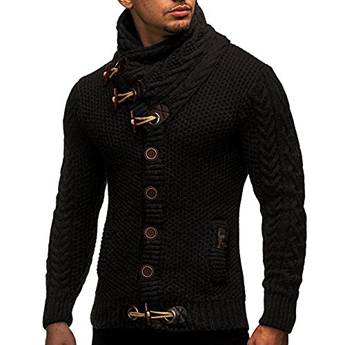 Kemilove Mens Sweaters Turtleneck Cable Knit Button Down Cardigans Chunky Casual Fall Winner Coat (Black, XL)