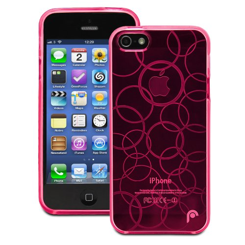 Fosmon DURA TPU Entwurf Case Cover hülle für iPhone 5 / 5s / SE - Multi-Circle - Rosa