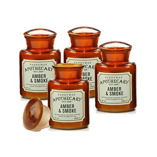 Apothecary Jar Candle - Paddywax Candles Apothecary Collection Jar Candle, 8-Ounce, Amber & Smoke - Set of 4