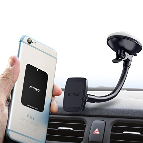 Cell Accessory Kit - Wuteku Magnetic Windshield Cell Phone Holder Kit For Car | Works on All Vehicles, Phones & Tablets | Best and strongest suction screen dash magnet Mount | iPhone X, 8, 7 & Galaxy S9, S8 | Top Rated