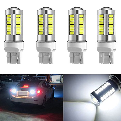 Ralbay 4Pcs T20 7443 5630 33-SMD 900 Lumens 8000K Extremly Bright Car LED Turn Signal Light Tail Brake Stop Lamp Reverse Light 12V