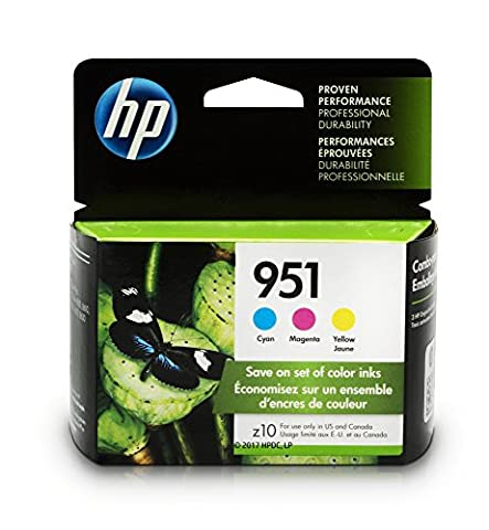HP 951 Cyan, Magenta & Yellow Original Ink Cartridges, 3 Cartridges (CR314FN) - Jet Ink Cartridge Cartridges