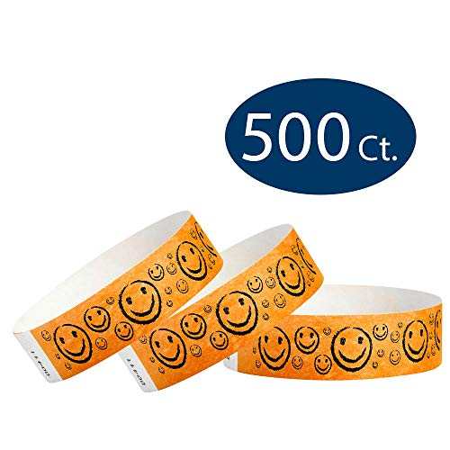 "WristCo Neon Orange Smiley Face 3/4"" Tyvek Wristbands - 500 Pack Paper Wristbands For Events"