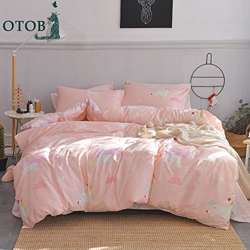 ORoa 3 Piece Kids Twin Bedding Sets Cartoon Animal Unicorn Twin Duvet Cover Set with Pillowcases for Kids Teen Girls 100% Cotton Reversible Lightweight Child Striped Bedding Duvet Cover (Twin Duvet Bedding)