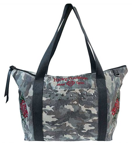 Harley-Davidson Women's Rose Embroidery Camo Print Canvas Tote WC6102S-CAMO (Harley Davidson Camo)