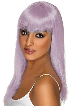 Smiffys - Peluca larga color violeta pálido para mujer